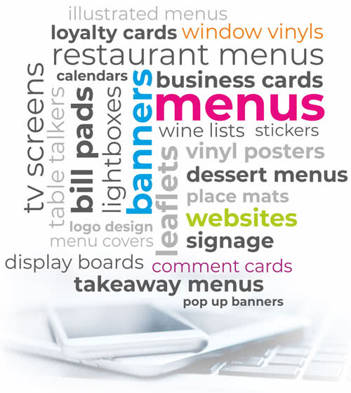 Menu printing products include Takeaway menus, Dessert menus, Wine lists, Restaurant table menus online websites and marketing