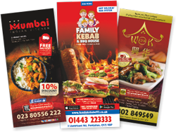 Menu Printing for Pizza, Kebab, Burger, Southern Fried Chicken, Fish & Chips Shop, Thai, Sushi, Asian, Italian, Chinese, Indian Restaurants