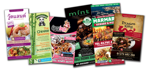 Printed Takeaway Menus for Pizza, Kebab, Burger, Southern Fried Chicken, Fish & Chips Shop, Thai, Sushi, Asian, Italian, Chinese, Indian Restaurants